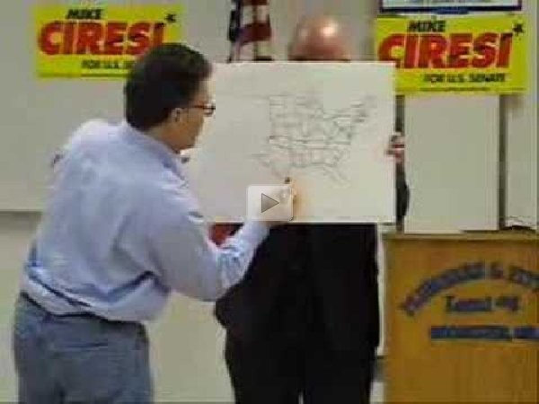 Al Franken Draws Us Map Free Hand - Al-franken-draws-us-map